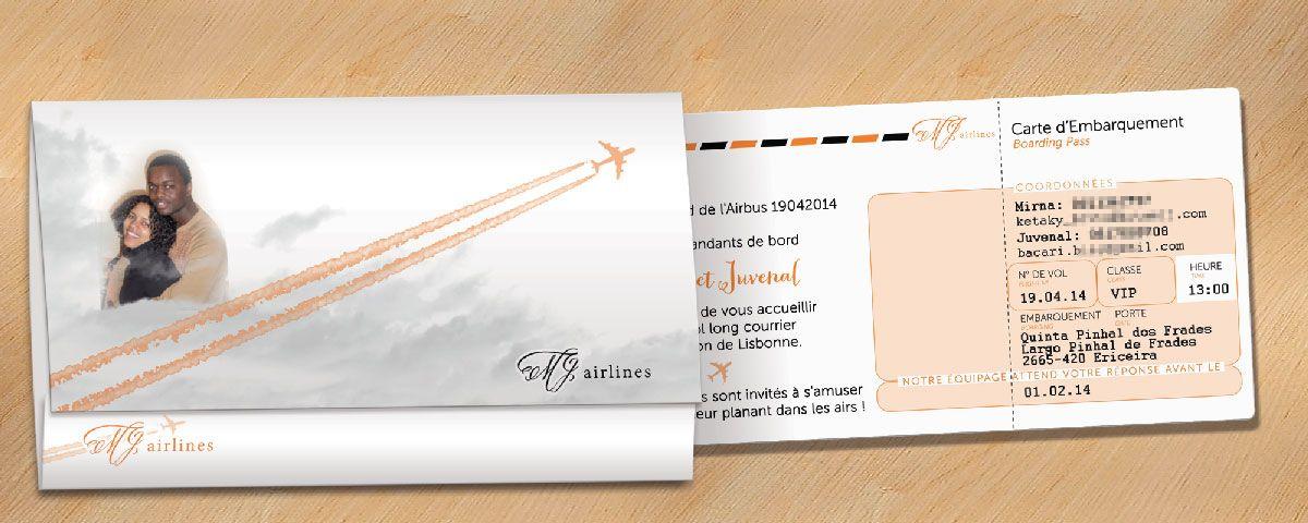 exemple de faire part mariage billet d 39 avion faire part pinterest billets avion et billet. Black Bedroom Furniture Sets. Home Design Ideas