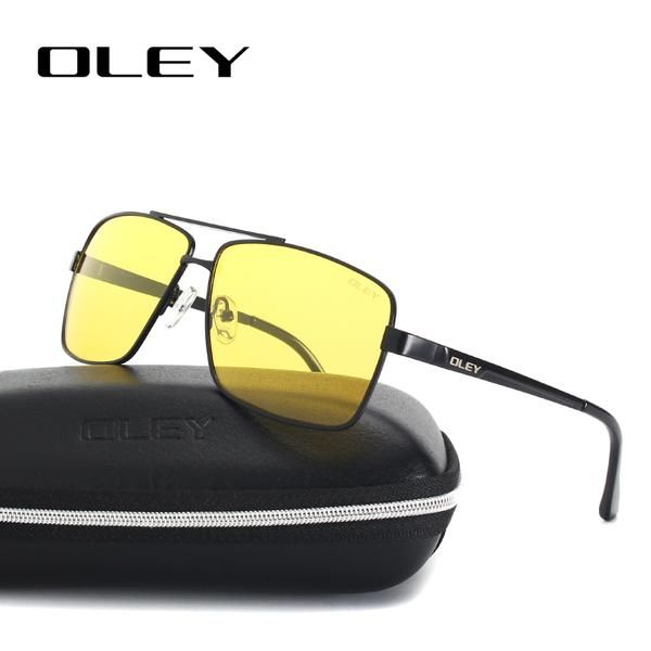f4bc18bd036 OLEY Mens Polarized Night Driving Sunglasses Men Brand Design Yellow Lens Night  Vision Glasses Square Goggles Reduce…  Discounts  BestPrice