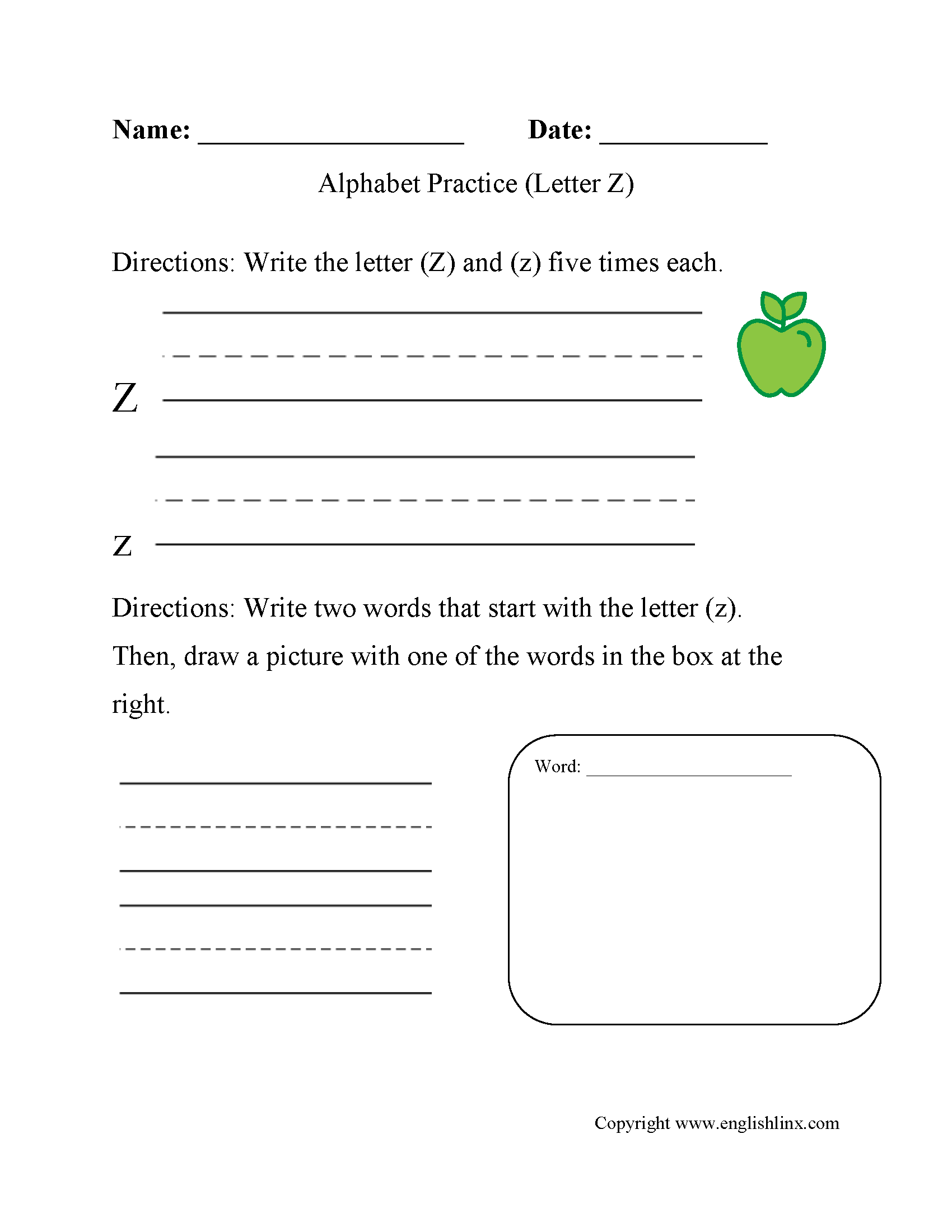 Alphabet Worksheet Letter Z