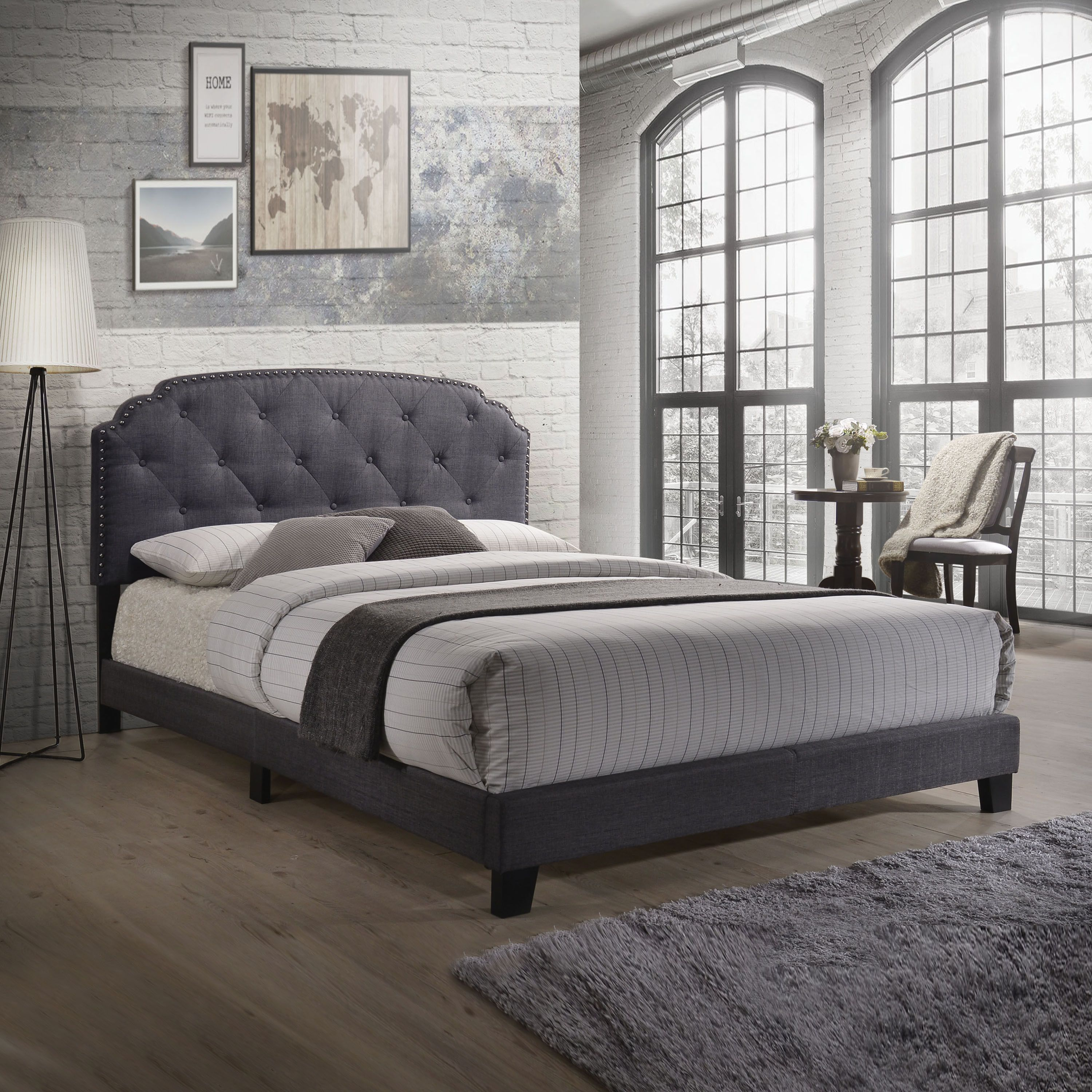 Acme Furniture Tradilla Grey Fabric Queen Bed With Images
