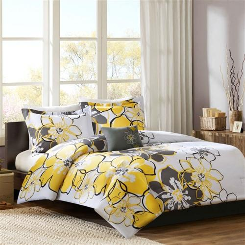 Queen Size 4 Piece Comforter Set With Yellow Grey Floral Pattern Yellow Bedding Comforter Sets Queen Size Comforter