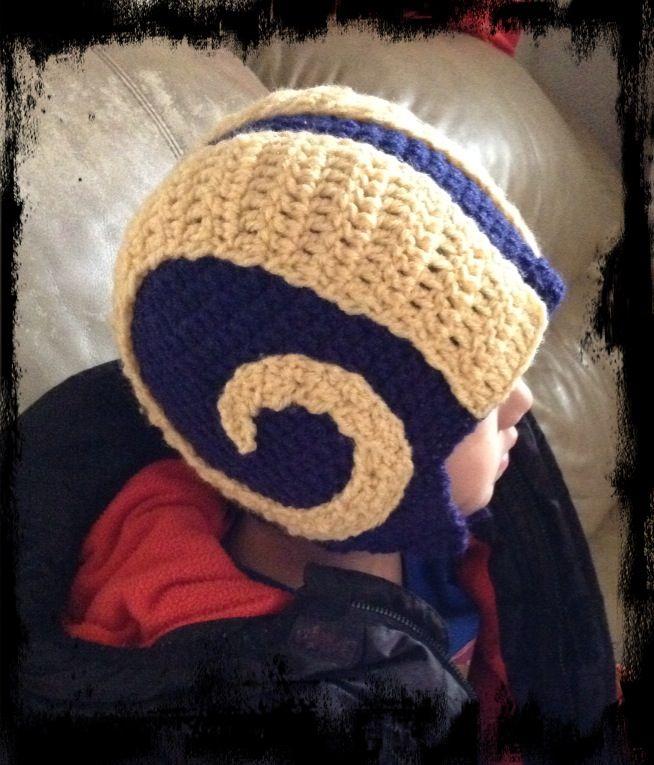 0e363622cf1 Crochet....RAMS HELMET HAT
