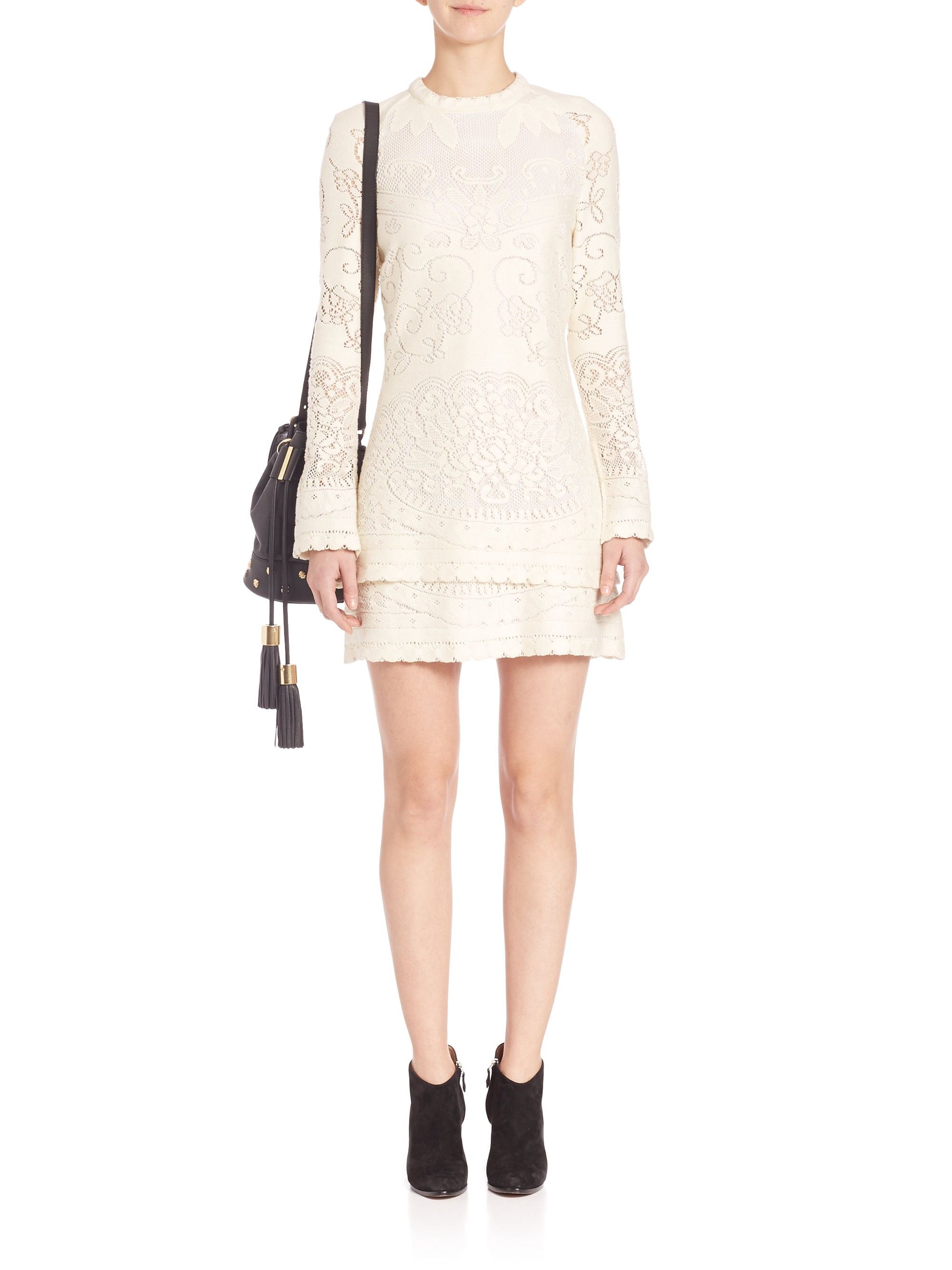 3d767baccbe Layered Lace Cutout Dress by SEE BY CHLOÉ   Products   Dresses, Lace ...