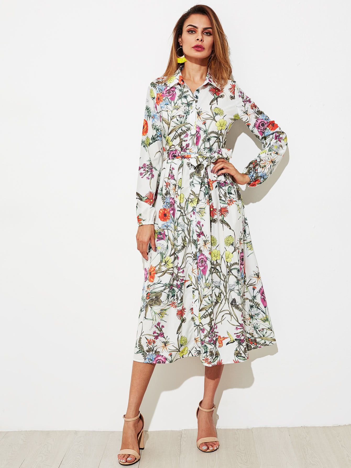 c5158b1766 Shop Botanical Print Self Belted Shirt Dress online. SheIn offers Botanical  Print Self Belted Shirt Dress & more to fit your fashionable needs.