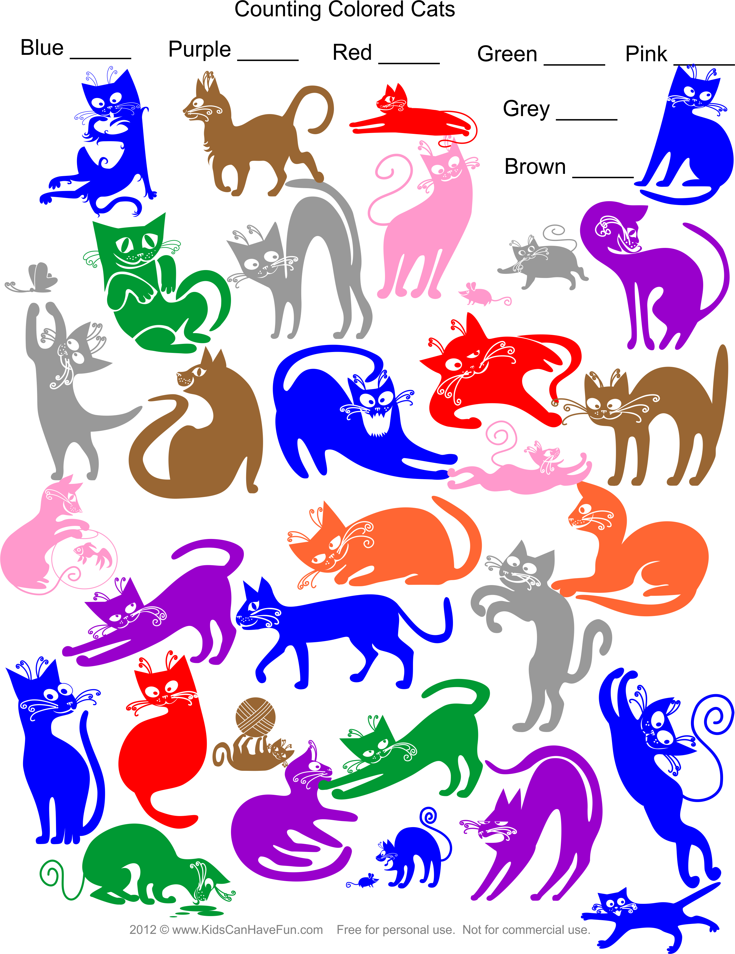 Counting Colored Cats Worksheet In
