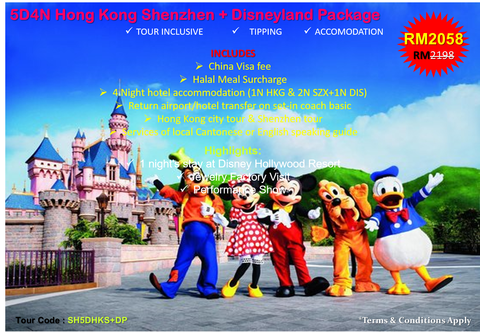 5D4N Hong Kong Shenzhen + Disneyland Package