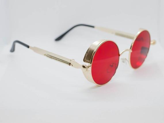 723db2f398cb Red Tint Gold Frame John Lennon Hippie Retro Festival Sunglasses Men ...