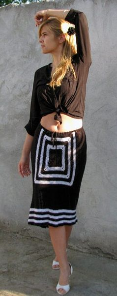 hand crocheted black and white monochromed skirt by kovale on etsy