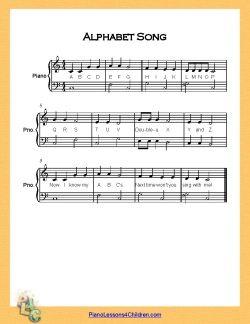 Tahestikulaul Alphabet Songs Songs Easy Piano