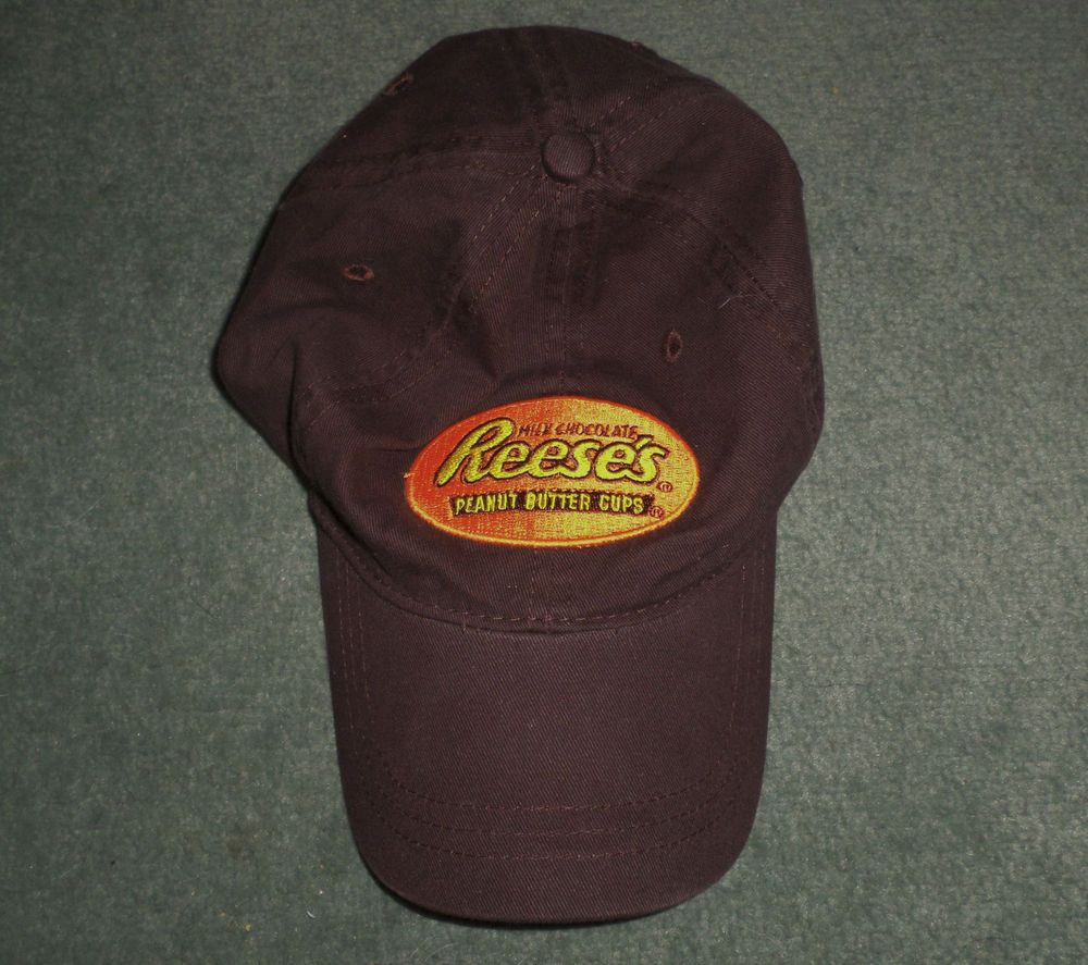 6cf70053f29 Mens brown orange reeses peanut butter cups logo hat adjustable strap guc  jamerica baseballcap jpg 1000x887