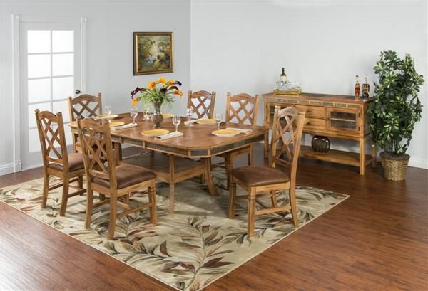 Sedona Rustic Oak Wood Adjustable Height Butterfly Leaf Dining Table   By Sunny  Designs