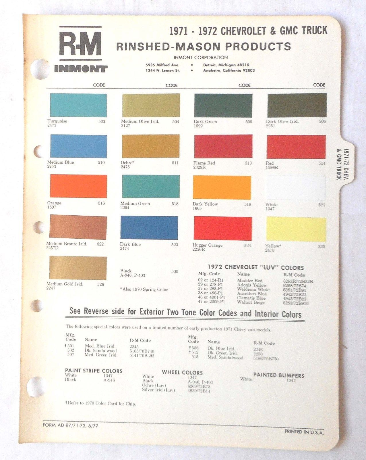 1971 1972 chevrolet truck and gmc r m color paint chip chart all models ebay [ 1275 x 1600 Pixel ]