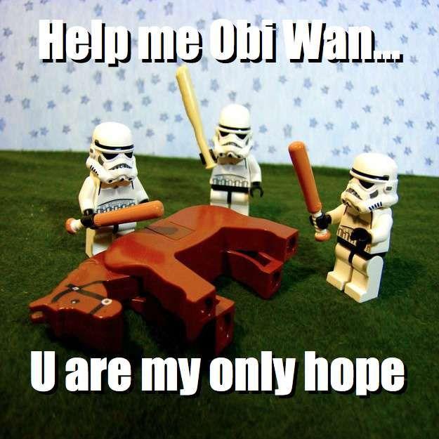 Help me Obi Wan... U are my only hope via brickmeme.com