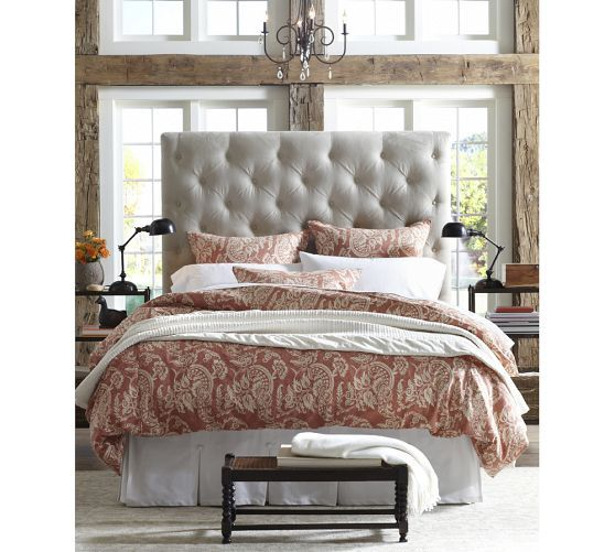 Pottery Barn Lorraine Tufted Tall Bed Makos Tall Bed