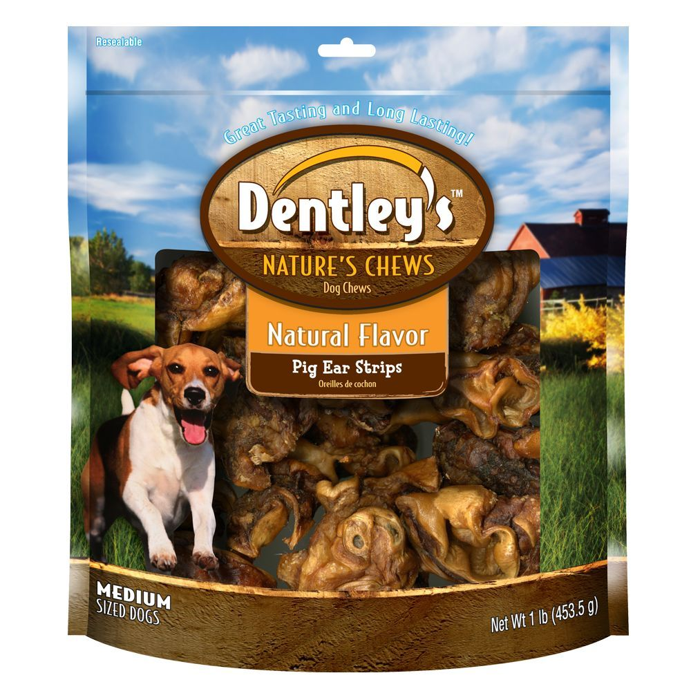 Dentley's, Nature's Chew Pig Ear Strip Dog Treat size 1