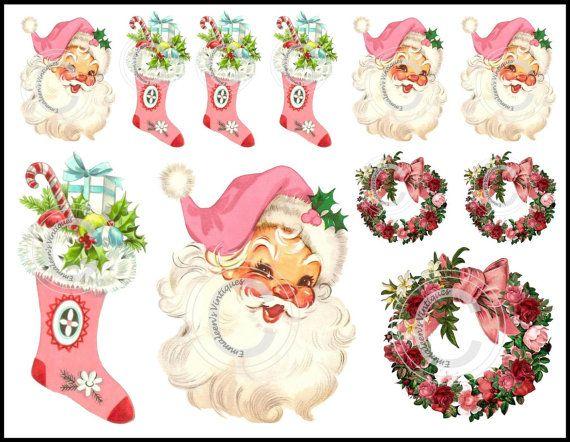 Vintage Shabby Retro Pink Christmas Santa by emmaleensvintiques