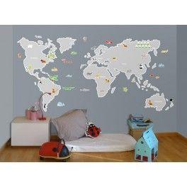 Vinilo mapamundi genial para habitaciones infantiles - Habitaciones infantiles compartidas ...
