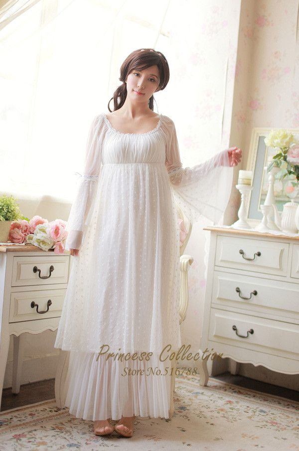 Free Shipping 100% Cotton Princess Nightdress Women s Long Nightgowns White Lace  Sleepwear cdfb14901