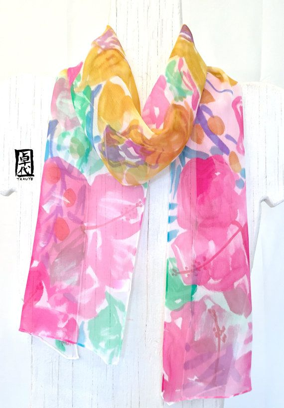 Hand Painted Silk Scarf ETSY asap Pink by SilkScarvesTakuyo