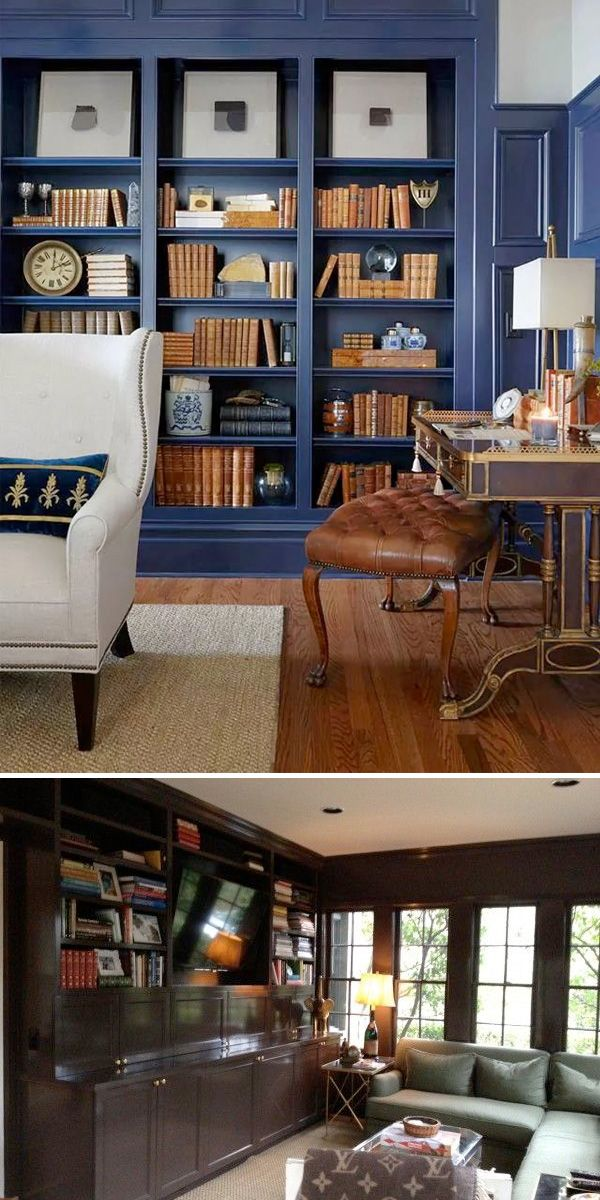 Navy Blue Library With Custom Built Bookcases By Walsh Hill Design Diakosmhsh Eswterikwn Xwrwn Gia To Spiti Biblio8hkes