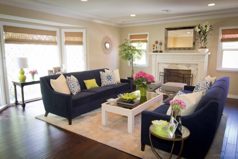Navy Cream Living Room Contemporary With Lime Green Decorative