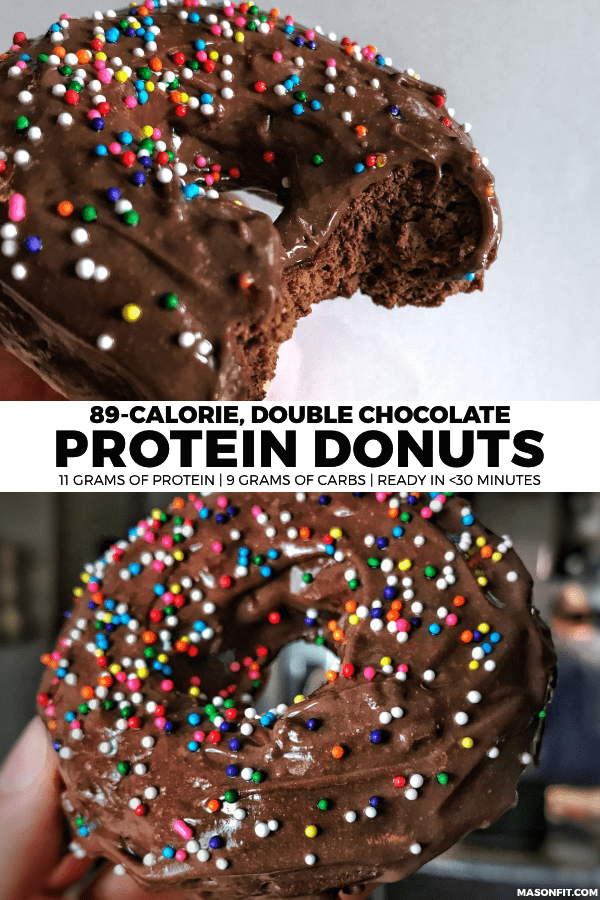Quick and easy baked chocolate protein donuts with 89 calories and 1 Smart Point each! #proteindonuts