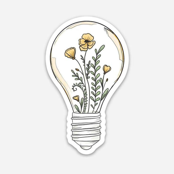 Flowers in Lightbulb Laptop Sticker