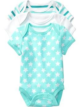 Old Navy star and stripe print onesies - because every little penguin looks cute in turquoise...