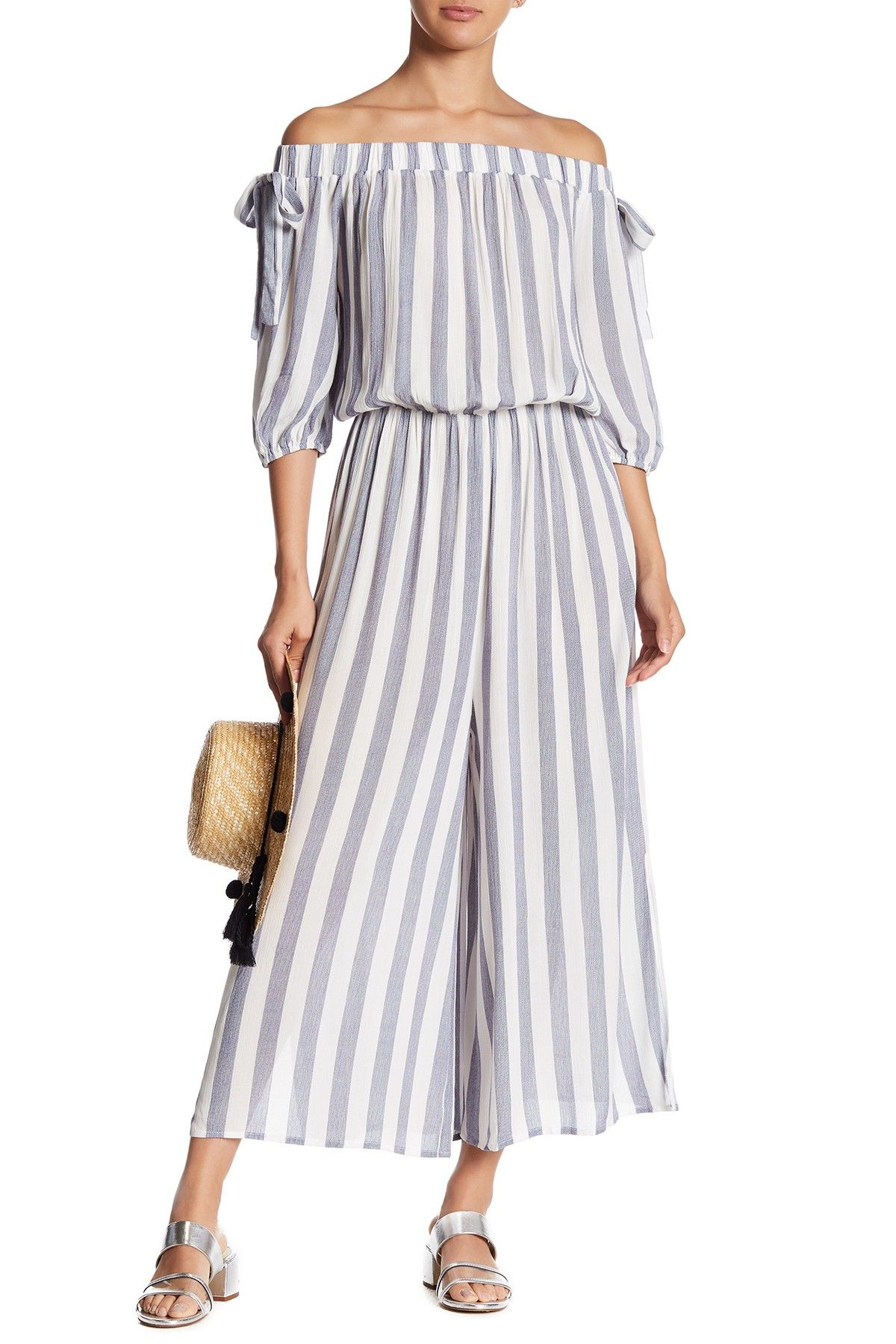 324ba3bc3098 Whyte Eyelash Off-the-Shoulder Striped Jumpsuit
