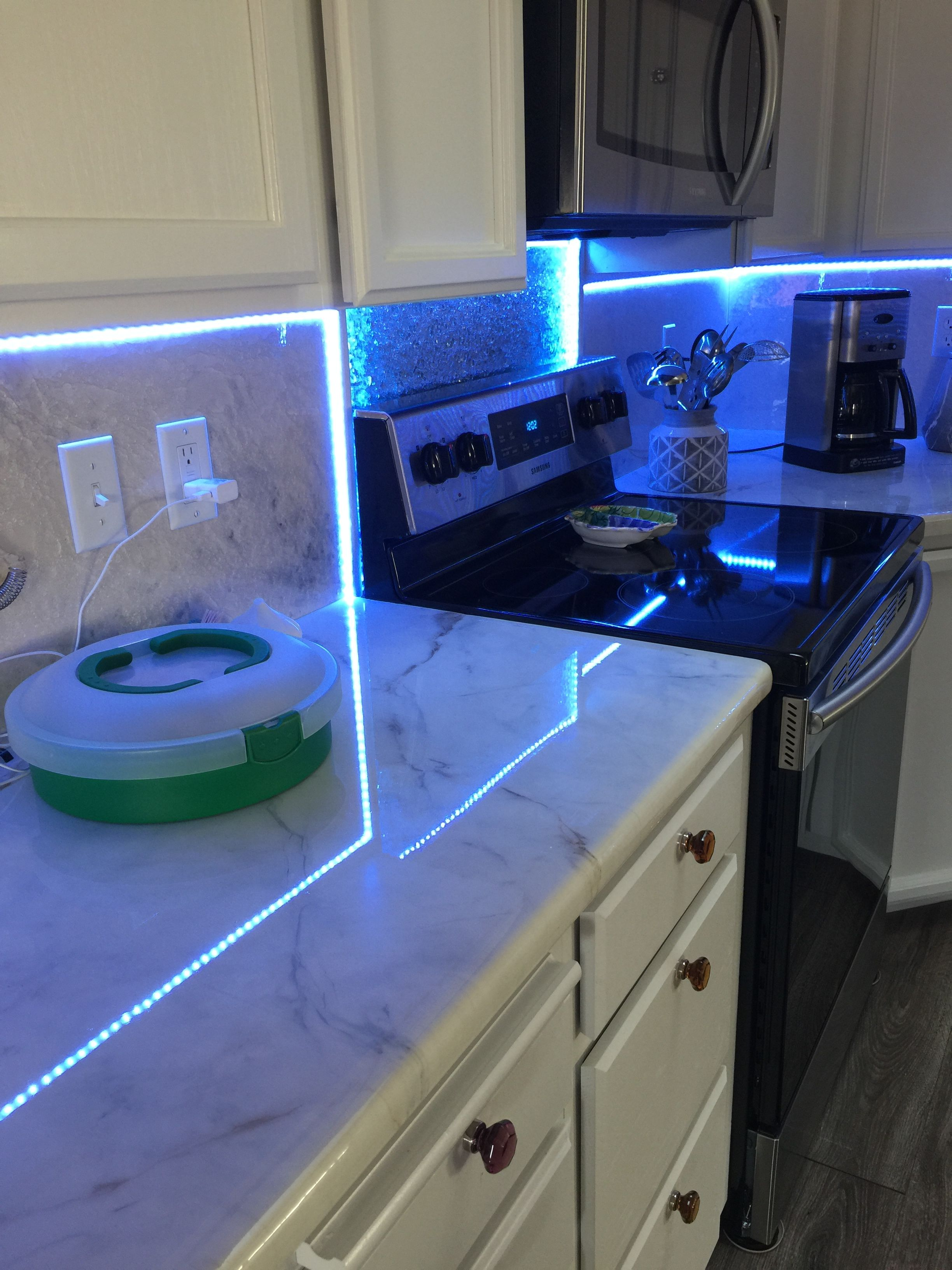 - Custom Backsplash, Made Of Epoxy Resin And Shattered Mirror Glass