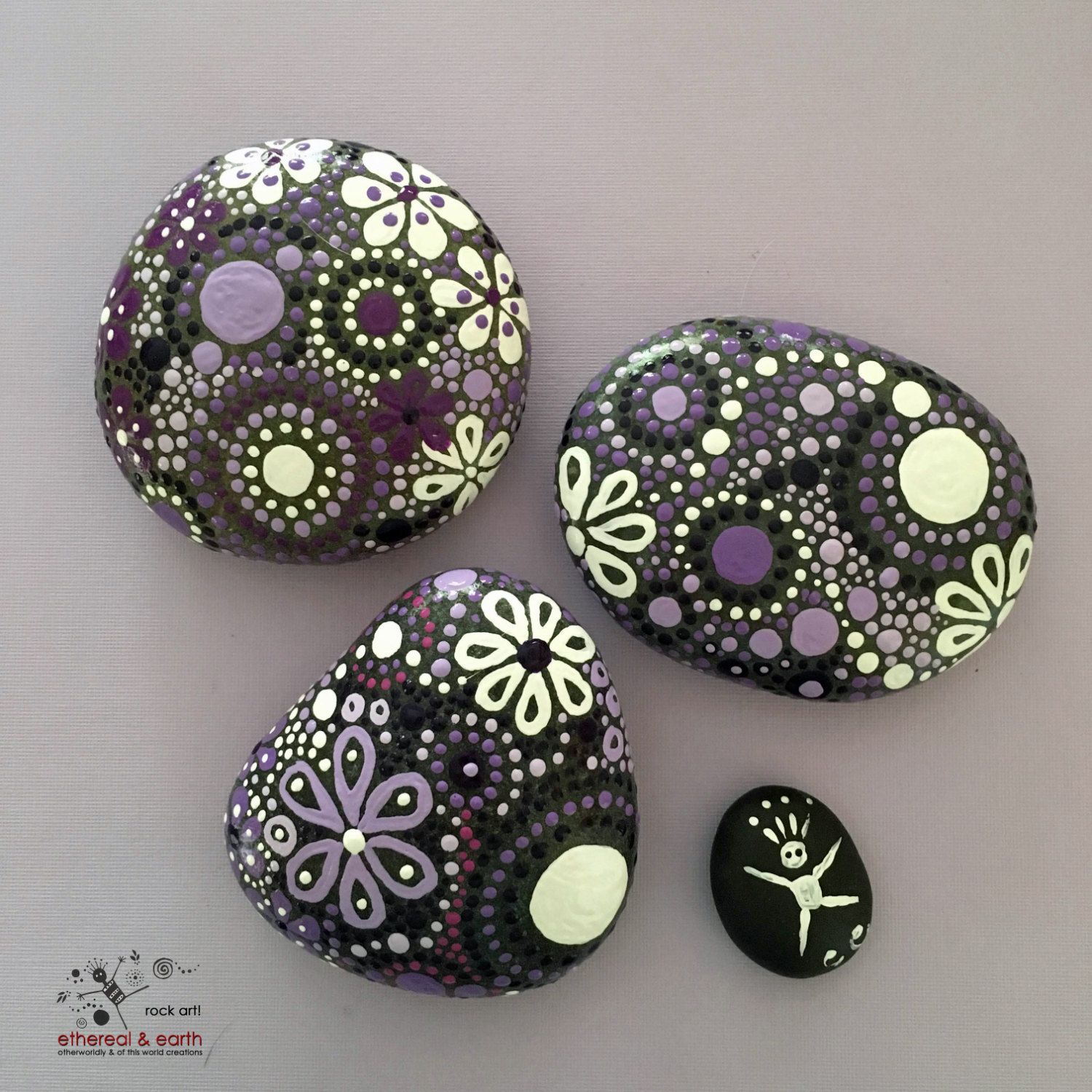 Painted Rocks Natural Home Decor Mandala by etherealandearth