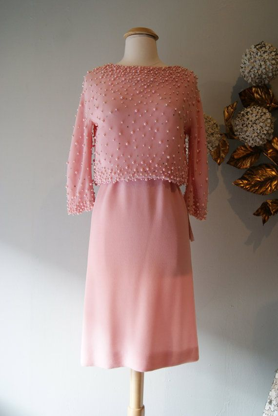 Vintage 1960s Dress // 60's Pink Champagne Crepe by xtabayvintage, $248.00
