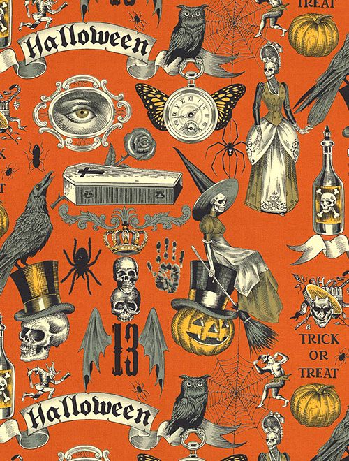 Haunted House Trickery Pumpkin Orange Quilt Fabrics From Www Equilter Com Halloween Prints Halloween Artwork Halloween Wallpaper Iphone