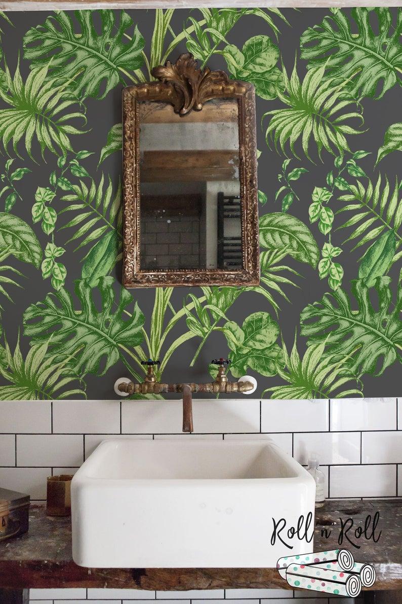Green Leaf Wallpaper Bathroom