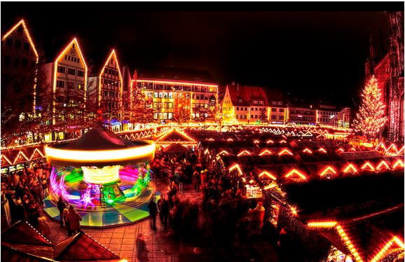 Christmas market at Ulmer, Wurttemburg.