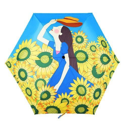 oil painting cat pattern sun rain Umbrella rain women 3 Folding Thickening Anti UV fashion hot selling abstract art