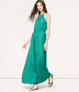 eb559b5939be0 Ann Taylor Loft Tasseled Halter Maxi Dress EMERALD GREEN NWT $98 M ...