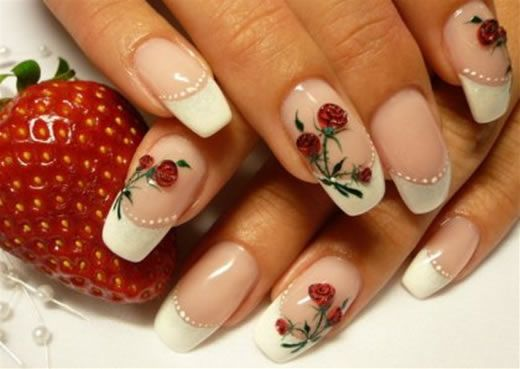 Amazing Red Roses Nail Art Design Red rose on white french nails <3 (minus  the strawberry) - Amazing Red Roses Nail Art Design Red Rose On White French Nails <3