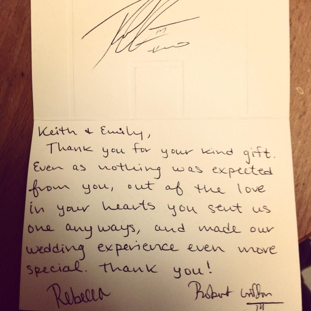 Rgiii Sent Fan A Wedding Gift ThankYou Note  School