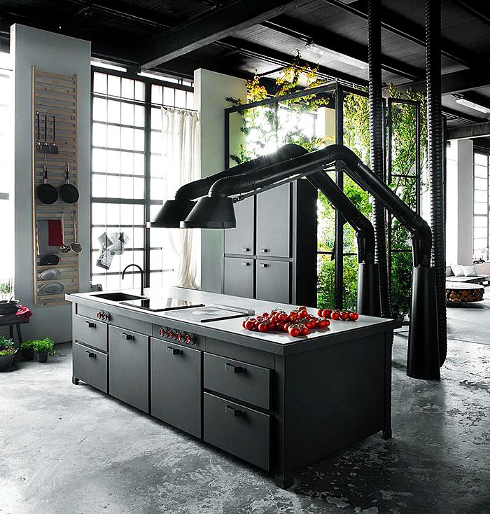 the multifunctional kitchen island mina of the italian brand minacciolo cuisine noire black kitchen industrial style - Industrial House 2016