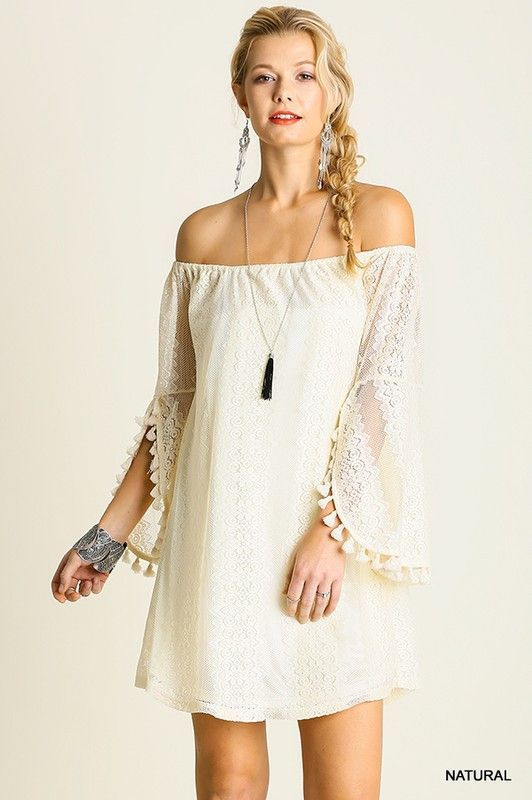 e902ea2951d7 New from Umgee USA. Ivory cream lace dress with elastic neckline. Wear off  or on the shoulders. Soft lace