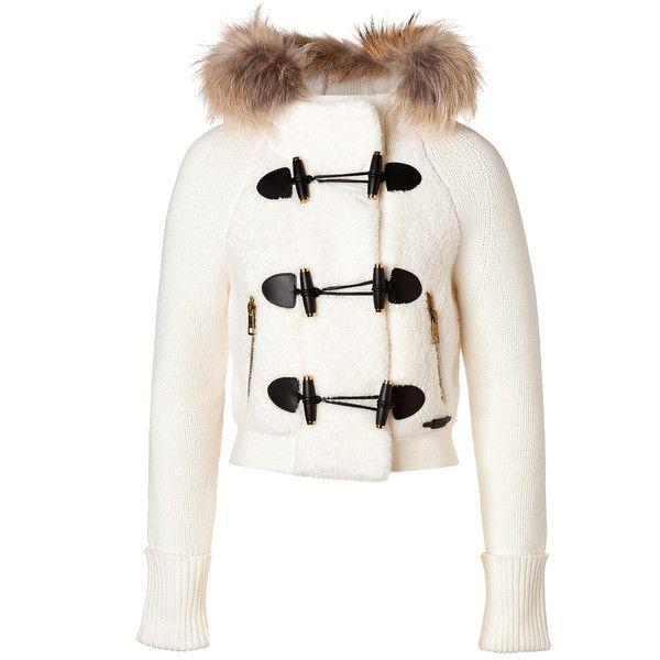 BURBERRY BRIT Wool Blend Short Jacket with Fur Trim in Natural White by  None, via Polyvore 47669ea92dfd