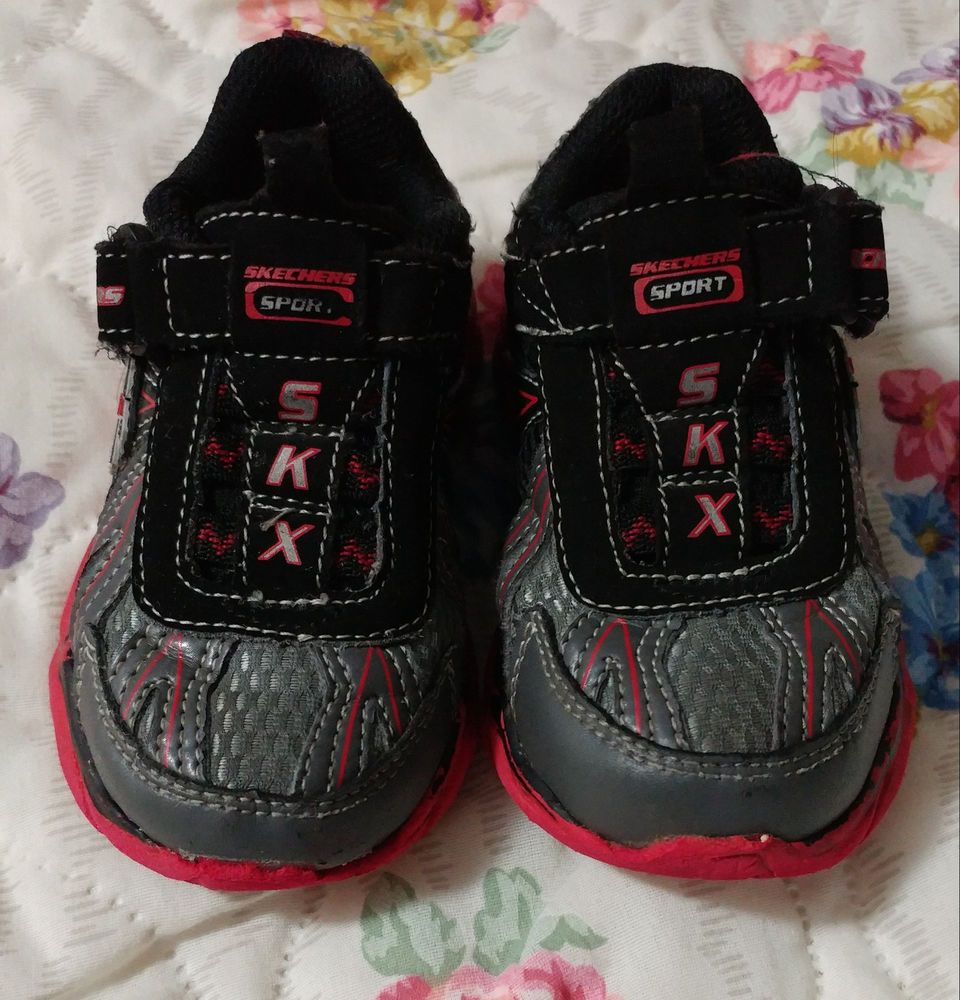 Skechers Baby Boy Shoes Size 7 gray/black/red leather ...