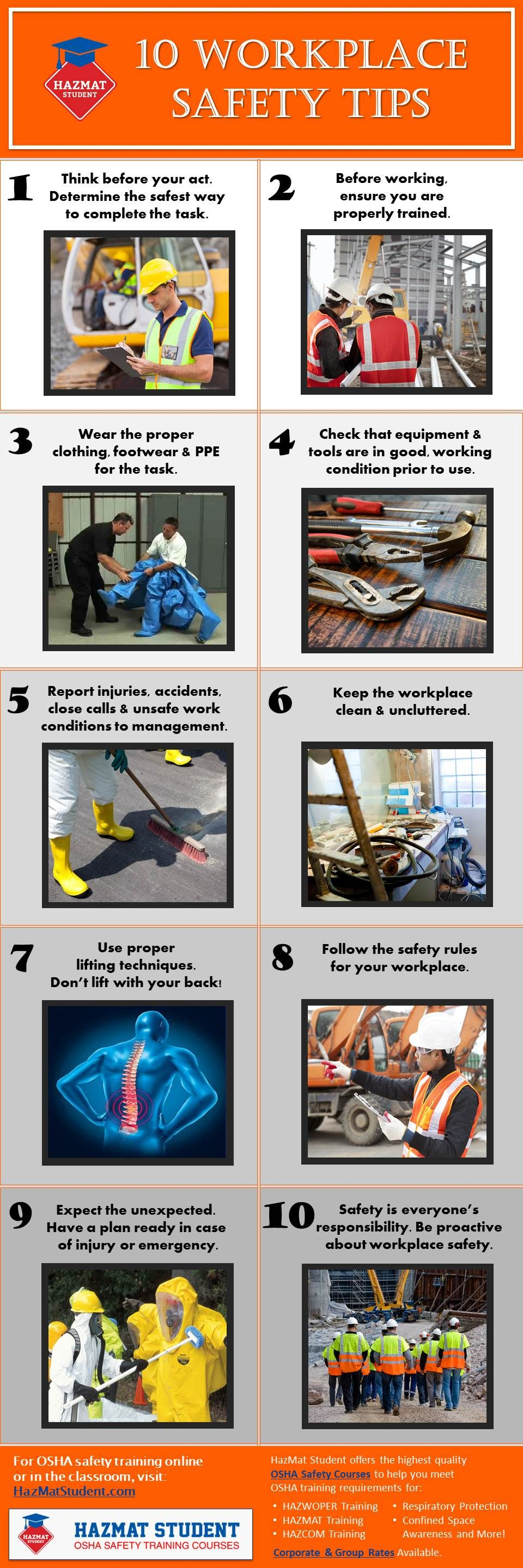 Top 10 Workplace Safety Tips to help prevent injuries and