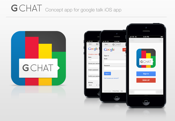 Google Chat App Concept for iPhone App, Chat app, Ios app