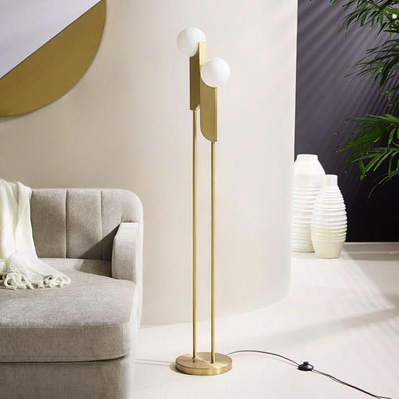 Modern Minimalist Torchiere Floor Lamp 2Light Globe Floor