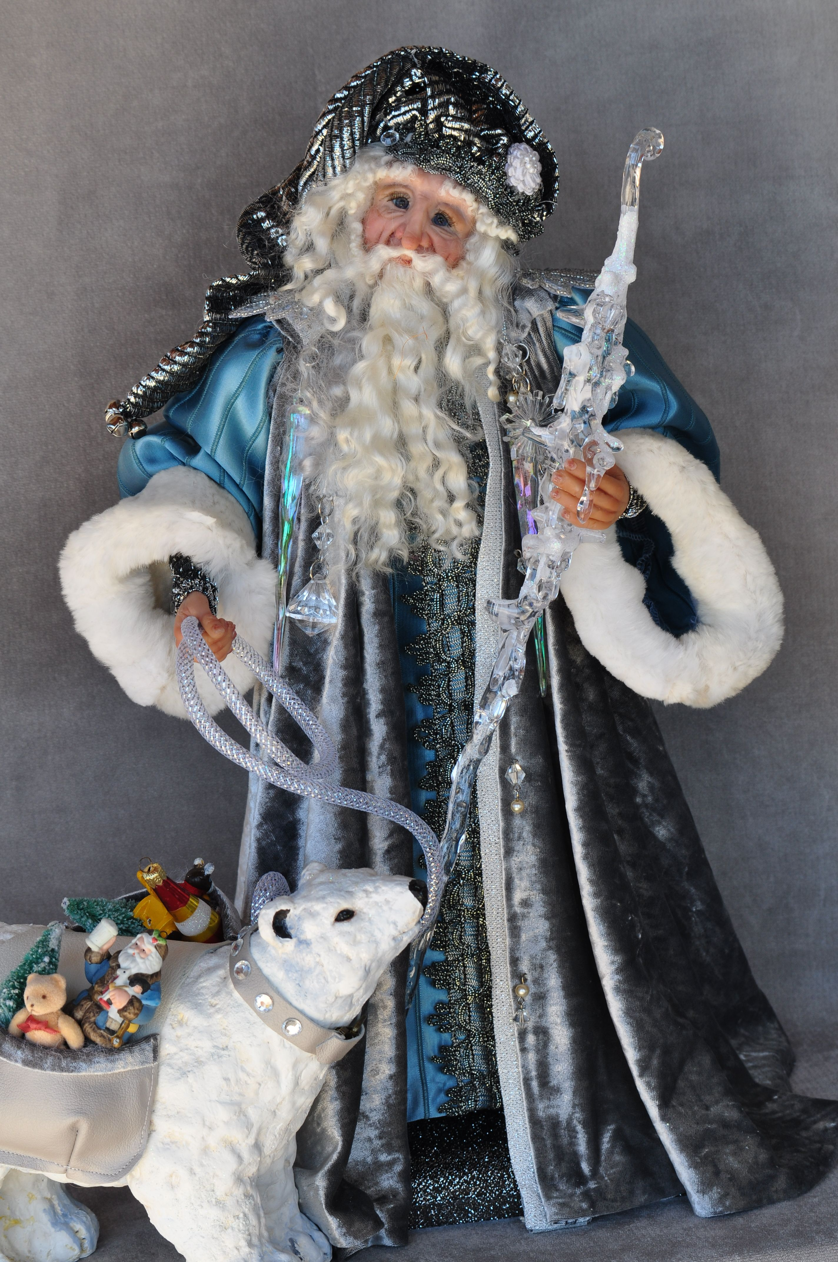 "Father Frost and his trusty companion the polar bear. 16"" Polymer clay Marilynn Huston"