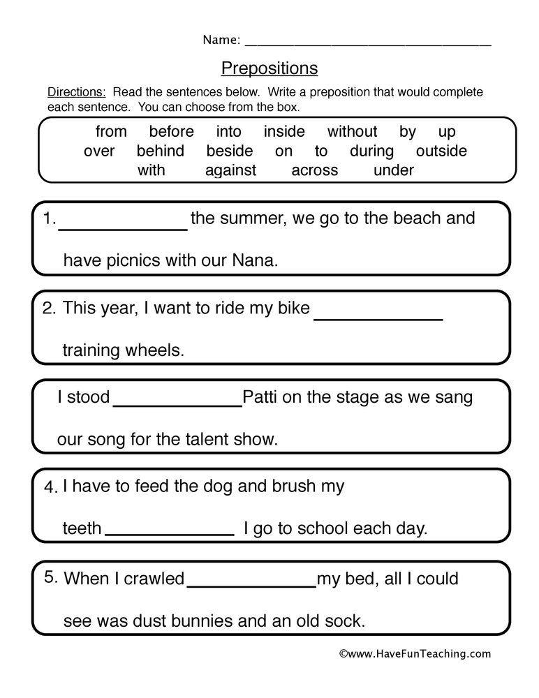Fill In The Blanks Prepositions Worksheet Preposition Worksheets Writing Complete Sentences Prepositions Writing complete sentence worksheets