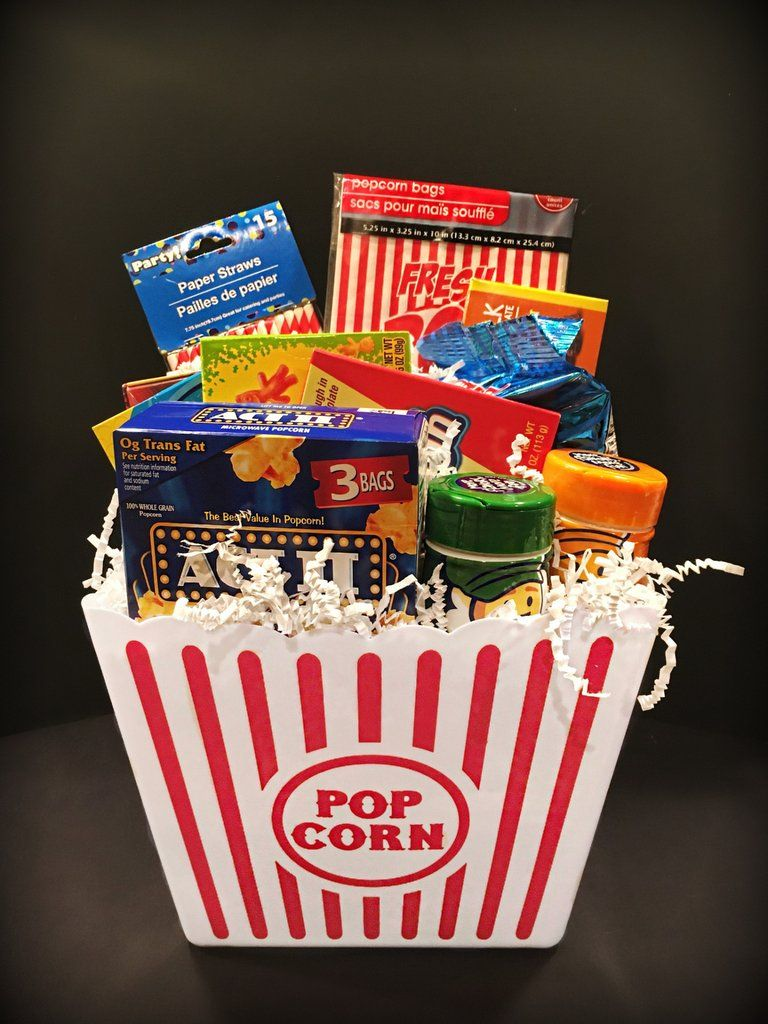 A Movie Night Gift Basket Bringing You All The Best Parts About