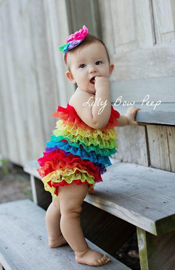 62a2ac33dfe8d Baby Girl Clothes-Rainbow Lace Petti Romper-Preemie-Newborn-Infant ...